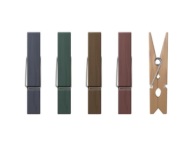 Conjunto de pinzas para la ropa de madera clavijas de diferentes colores vista lateral frontal cerrar aislado sobre fondo blanco