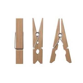 Conjunto de pinzas para la ropa de madera, vista lateral frontal