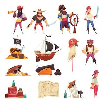 Conjunto pirata de iconos aislados con mapas de barcos de dibujos animados y símbolos de esqueleto con personas