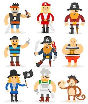 Conjunto de piratas de dibujos animados.