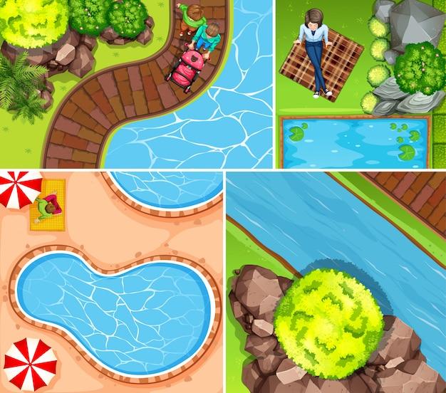 Conjunto de piscina aérea y escena de río.