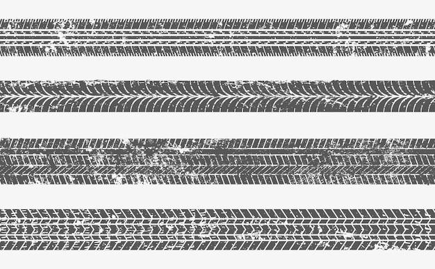 Conjunto de pistas de neumáticos con textura grunge