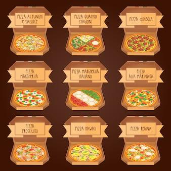 Conjunto de pizza italiana en cajas. 9 artículo. diferentes tipos