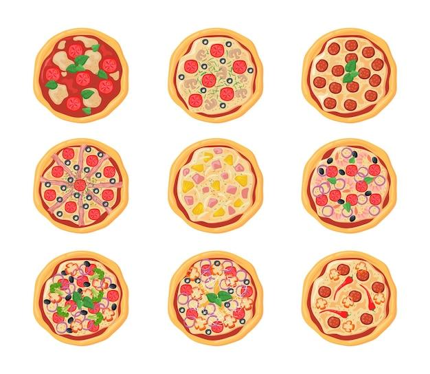 Conjunto de pizzas de dibujos animados con diferentes rellenos. ilustración plana.