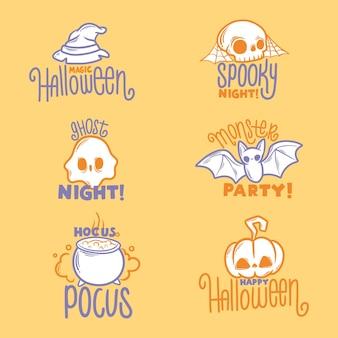 Conjunto de placa de halloween de diseño plano
