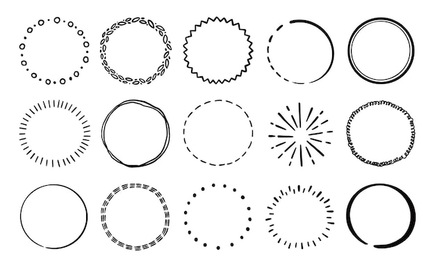 Conjunto de placa de línea de círculo dibujado a mano. insignia de círculo de estilo rústico, grunge para marco, etiqueta, borde de ráfaga. ilustración vectorial. línea de garabatos de pincel dibujado.