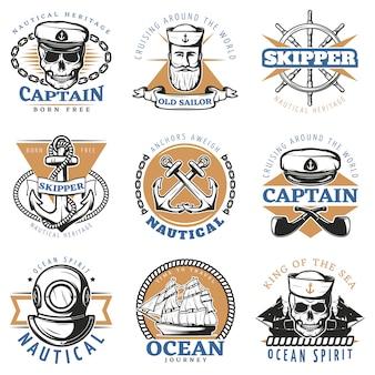 Conjunto de placa de marinero vintage
