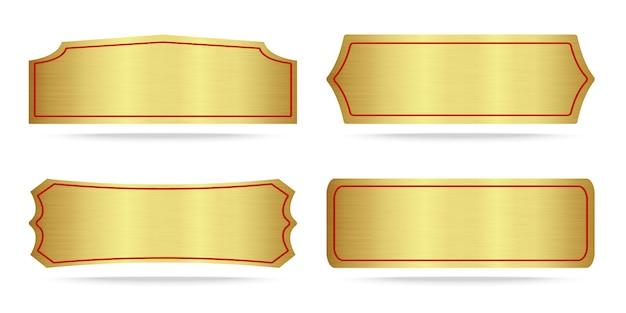 Conjunto de placa metálica dorada