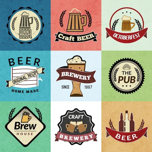 Conjunto de placa retro cerveza