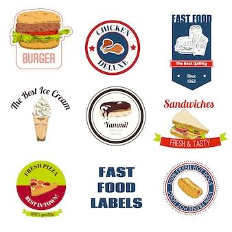 Conjunto de placas de comida rápida.