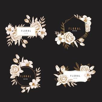 Conjunto de placas florales.