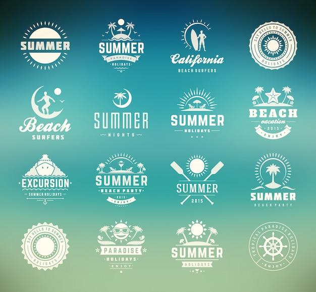 Conjunto de placas de verano.
