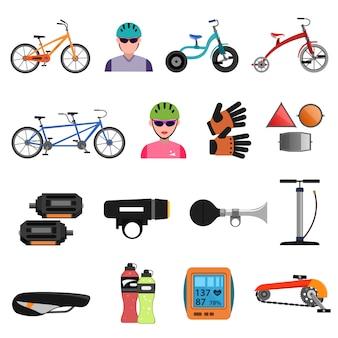 Conjunto plana de iconos de bicicleta