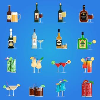 Conjunto plana de iconos de cóctel
