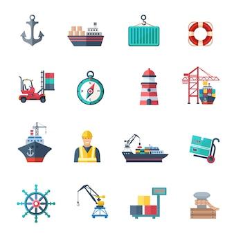 Conjunto plana de los iconos del puerto de mar