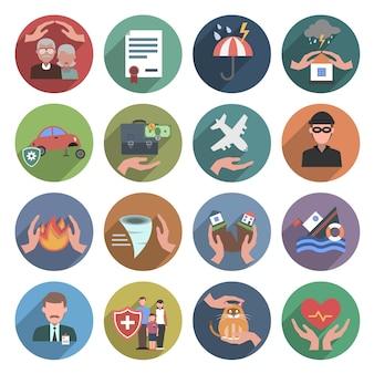Conjunto plana de iconos de seguros