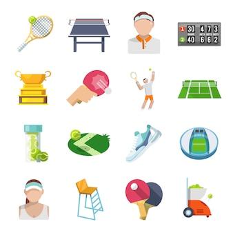 Conjunto plana de iconos de tenis