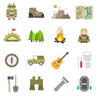 Conjunto plana de iconos de turismo