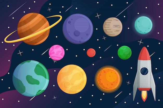 Conjunto planeta con nave espacial o cohete y galaxia.