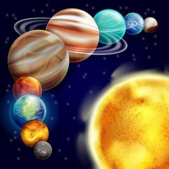 Conjunto de planetas alrededor del sol.