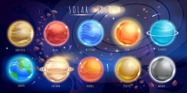 Conjunto de planetas de colores. fondo del espacio