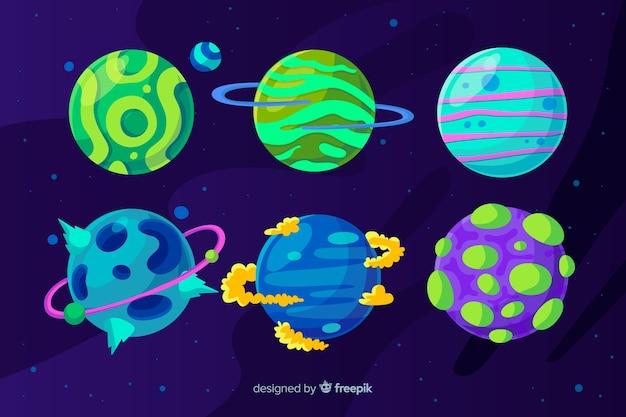 Conjunto de planetas coloridos de diseño plano