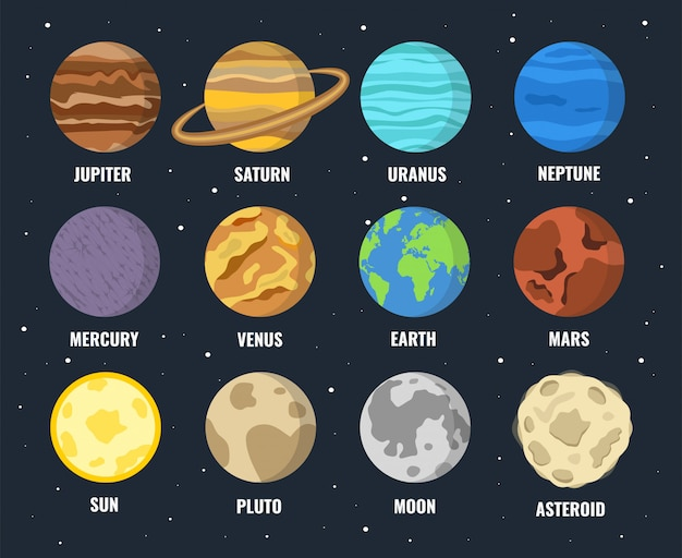 Conjunto de planetas coloridos