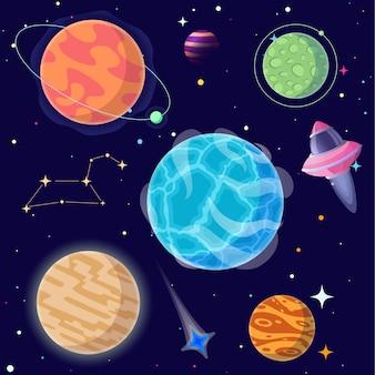 Conjunto de planetas de dibujos animados y elementos del espacio.