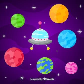 Conjunto de planetas de diseño plano