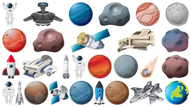 Conjunto de planetas y elementos espaciales.