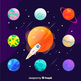Conjunto de planetas estilo plano