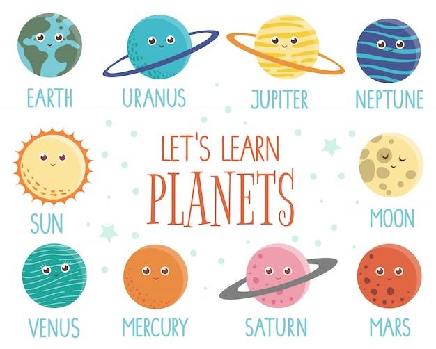 Conjunto de planetas para niños. brillante y linda ilustración plana de tierra sonriente, sol, luna, venus, marte, júpiter, mercurio, saturno, neptun con nombres aislados