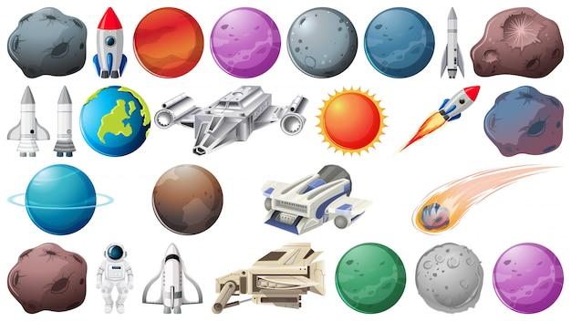 Conjunto de planetas y objetos espaciales.