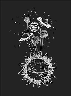 Conjunto de planetas y sol.