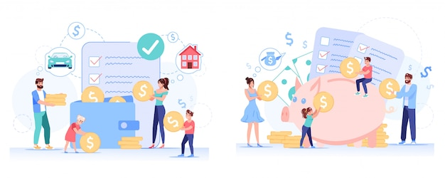 Conjunto de planificación de ahorro de presupuesto familiar anticrisis