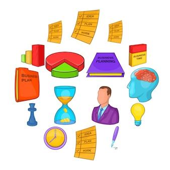 Conjunto de planificación de negocios, estilo de dibujos animados