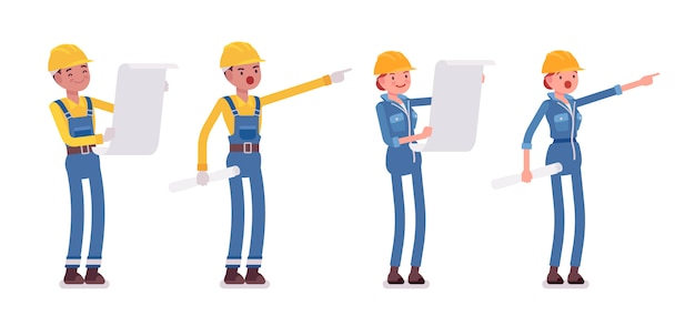 Conjunto de planificación de trabajadores masculinos y femeninos