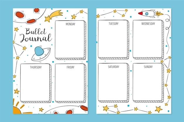 Conjunto de planificador de diario bullet con elementos dibujados