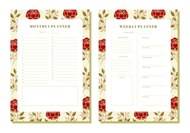Conjunto de planificador floral mensual y semanal con elementos de rosas y hojas.