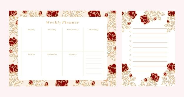 Conjunto de planificador semanal floral y plantilla de bloc de notas de lista de tareas