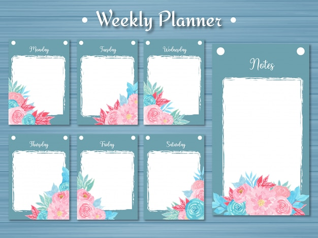 Conjunto de planificador semanal con flores de colores y fondo azul abstracto