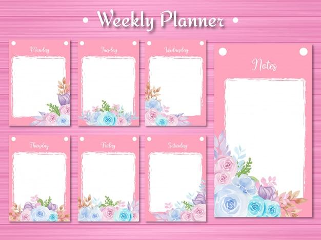 Conjunto de planificador semanal con hermosas flores de acuarela