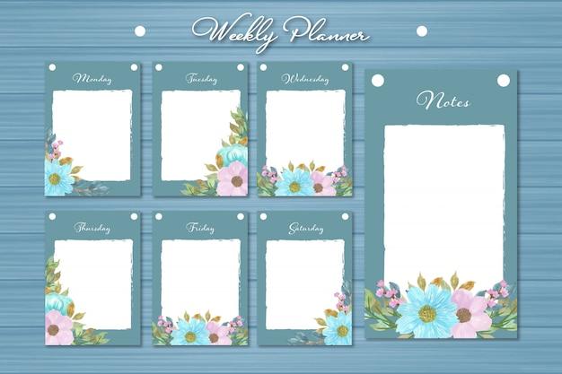 Conjunto de planificador semanal con hermosas flores