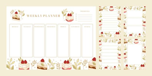 Conjunto de planificador semanal, lista de tareas diarias, plantillas de bloc de notas, planificador escolar con elementos de pastel, florales y fresas dibujados a mano