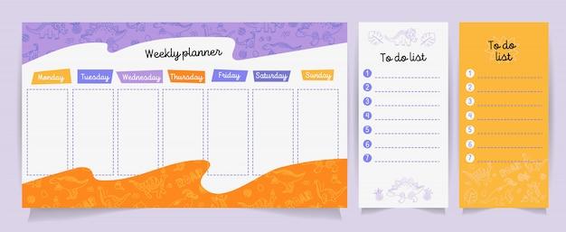 Conjunto de planificadores y listas para hacer con lindo dino.