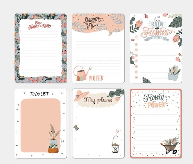 Conjunto de planificadores y listas de tareas con ilustraciones escandinavas florales de primavera y letras de moda. plantilla para agenda, planificadores, listas de verificación y otros artículos de papelería.