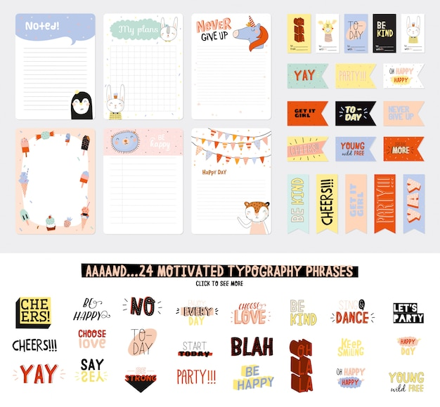 Conjunto de planificadores semanales y listas de tareas con ilustraciones de animales lindos y letras de moda. plantilla para agenda, planificadores, listas de verificación y otros artículos de papelería para niños. .