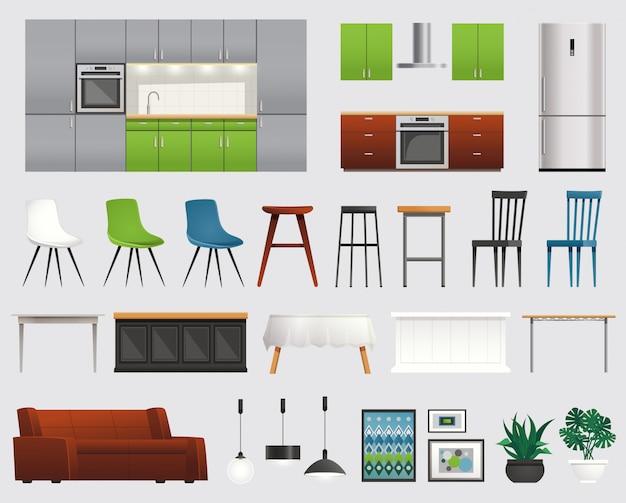 Conjunto plano de accesorios de muebles de cocina