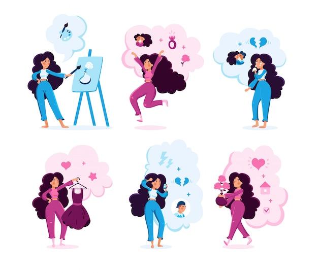 Conjunto plano de actividades de mujer joven