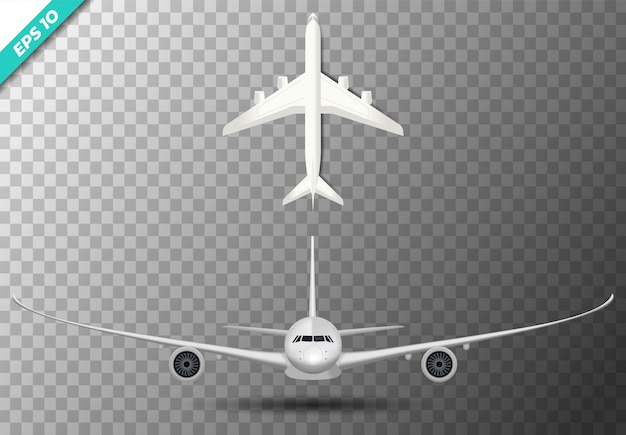 Conjunto de plano de aire frontal e ilustración superior.